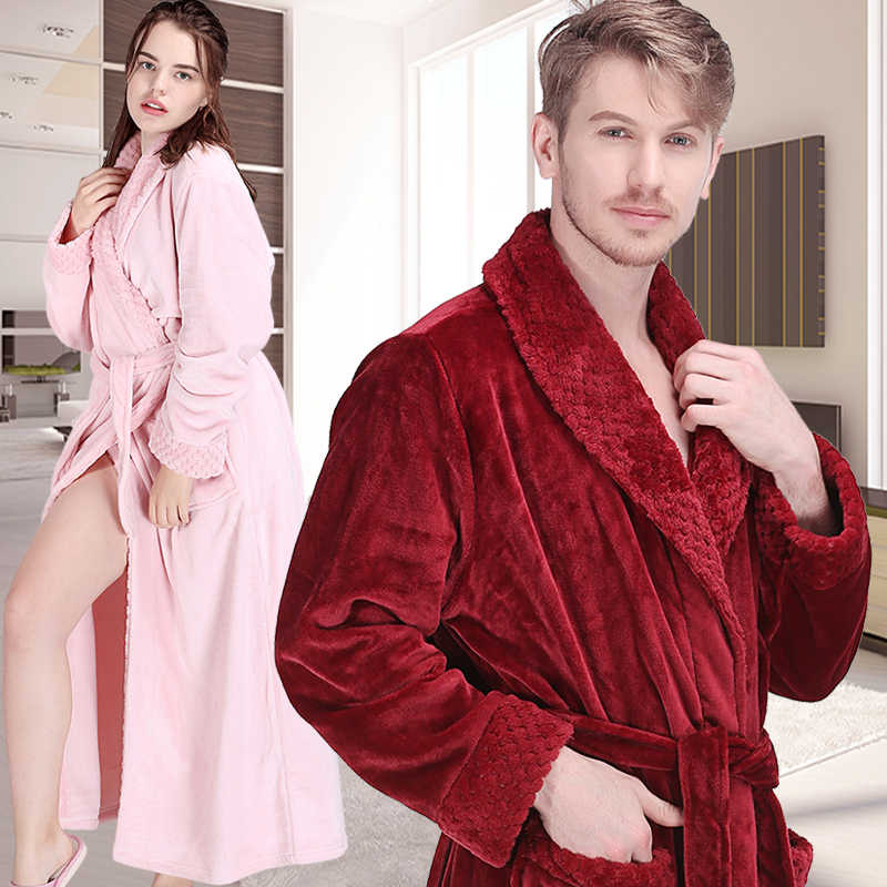 86978967c1 Women Winter Extra Long Thick Flannel Bath Robe Warm Peignoir Femme Sexy Dressing  Gown Men Bathrobe