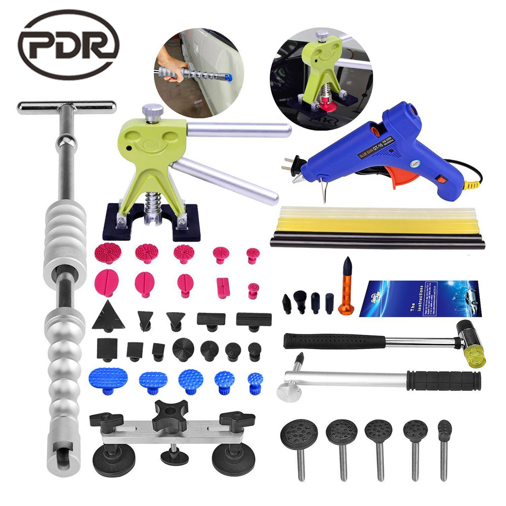 PDR Hand Tools Set Auto Tool Car Body Hail Ding Damage Dent Repair Removal Tool Kits Slide Hammer Glue Puller Tool Kits 46pcs 1 4 inch high quality socket set car repair tool ratchet set torque wrench combination bit a set of keys chrome vanadium
