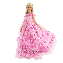 Newest High Quality Handmade Mini Wedding Dinner Party Clothes Accessories Doll Dress Outfit For Barbie Doll Toy Best Girl' Gift nk one set original princess doll dress noble party gown for barbie doll fashion design outfit best gift for girl doll