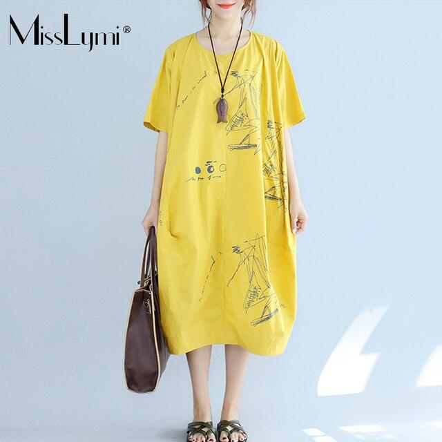 MissLymi XXL-5XL Plus Size Women Vintage Dress 2017 Summer Harajuku  irregular Letter Print Oversized Casual Loose Yellow Dress 68c7f32261fc
