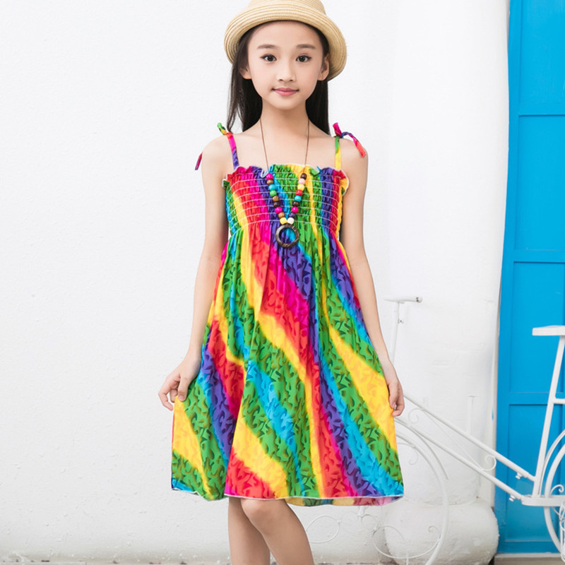 Dresses Summer 2017 S Bohemian Sundress Colorful Beach Dress Print Viscose Sleeveless Onepiece Robe Fille Enfant Disfraces In From Mother Kids