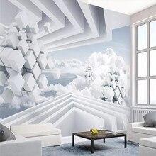 Custom wallpaper blue sky white clouds 3d sofa living room TV background wall family art high-grade waterproof material цена