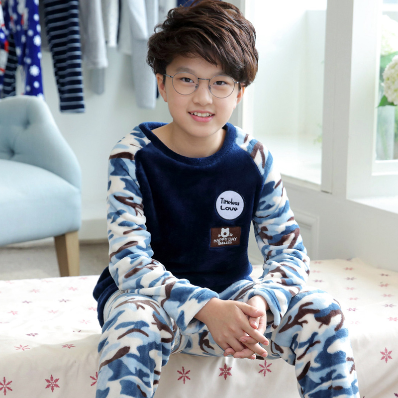 2018 детская утепленная одежда для сна для Обувь для мальчиков пижамы дети Лидер продаж Обувь для мальчиков пижамы Дети Весна камуфляж Loungewear