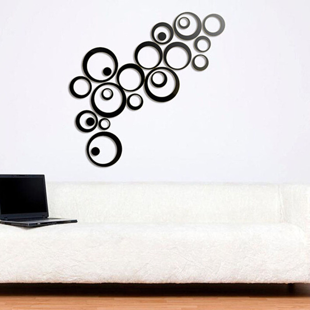 Factory Price! Fashion Home Decor Circles Mirror Style Removable Decal Vinyl Art Wall Sticker DIY