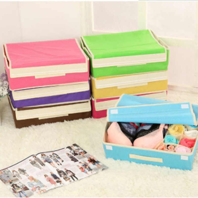 Тканевые коробки для хранения для галстуков носки шорты бюстгальтер нижнее белье разделитель ящика с крышкой Шкаф Органайзер Ropa Interior Organizador