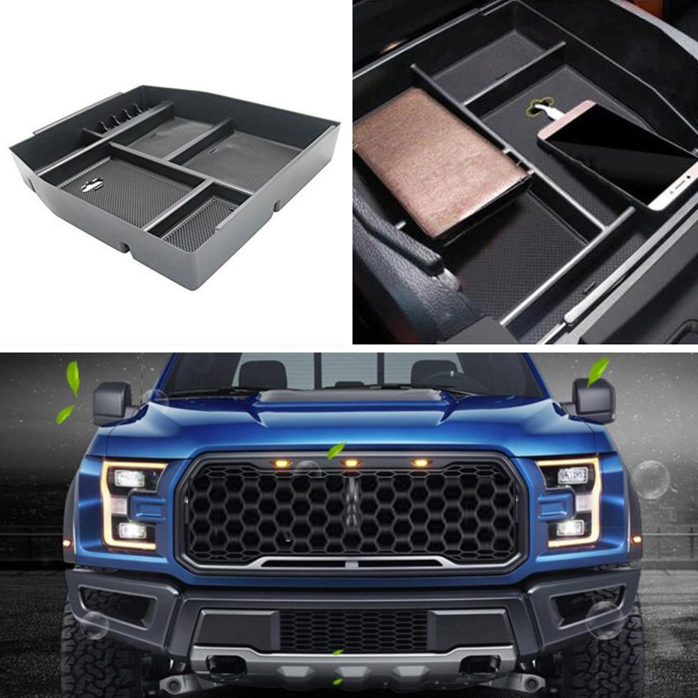 Center Console Armrest Tray Organizer Storage Box fits for Ford F150 Raptor 2015 2016 2017 2018