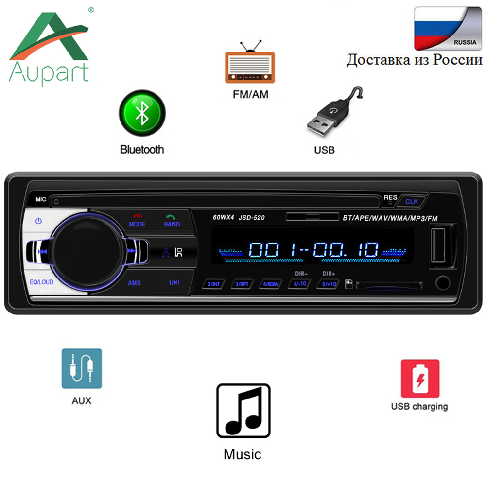 Autoradio Car Radio 12V Bluetooth V2.0 JSD520 Car Stereo In-dash 1 Din FM Aux Input Receiver SD USB MP3 MMC WMA Car Radio Player(China)