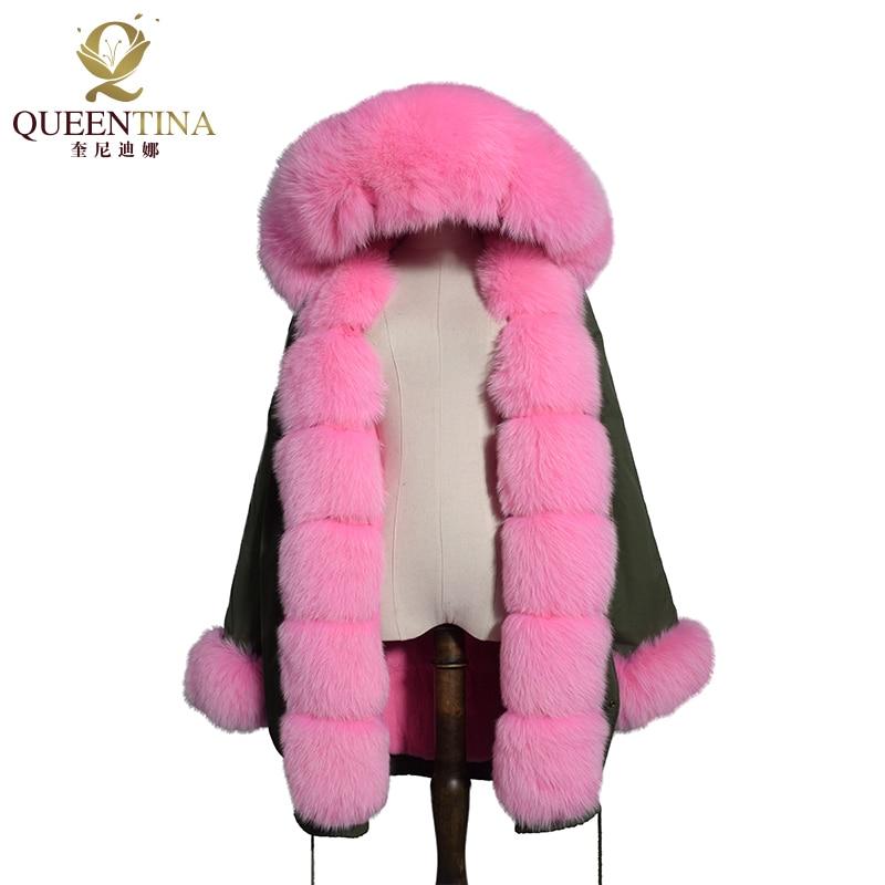 Real Fur Parka Coat Hooded Rabbit Fur Linning Jacket Thick Fur Parkas Women Winter Natural Real Fox Fur Collar Coats with Hood