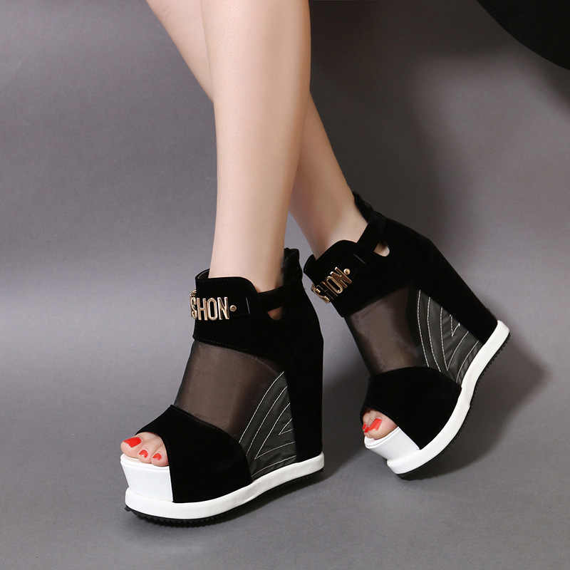 Schoenen vrouwen 2019 zomer nieuwe mode toevallige sexy wedge sandalen super hoog met vis mond mesh vrouwen sandalen
