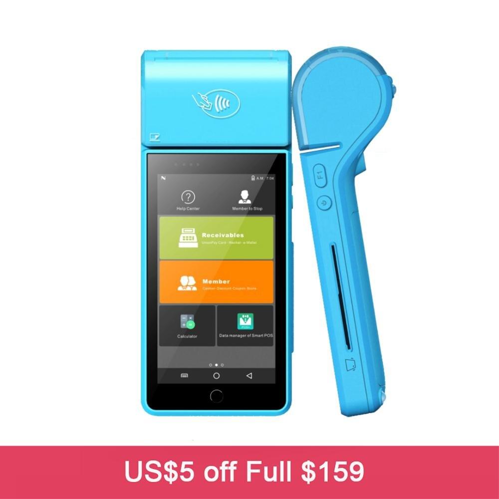 Remise sur les ventes Android 7.0 Terminal de point de vente Mobile 4G paiement bancaire IC lecteur de carte magnétique avec imprimante thermique