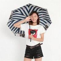 Three Folding Rain Travel Light Aluminium Cat Women Men Fashion Umbrellas Female Umbrellas Three folding Umbrella WZP153