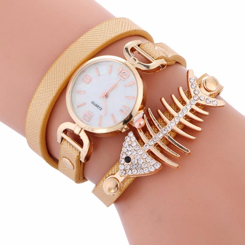 New Arrive Women Bracelet Luxury Wrist Watch For Women Watch 2017 Crystal Round Dial Dress Gold Ladies Leather Clock Watch