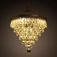 Роскошные Винтаж Лофт капли воды k9 кристалл потолочный светильник подвесной светильник люстра