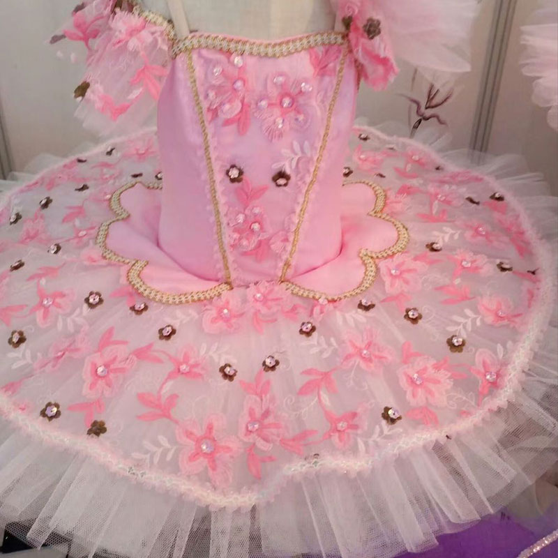 Customer size made pink flower decoration top bodice professional ballet tutu girl & women tutu balleria dance costume tutu