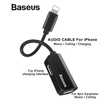 Baseus Cable Splitter Adapter for iPhone X 8 7 Earphone Cable Adapter for iPhone Audio Cable Charging / Calling / Data transmit