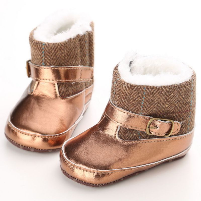 Hot S PU Bebe Kids Boots Winter Warm Children Thicken Plush Snow Boots Child Leather Short Baby Infant Shoes New