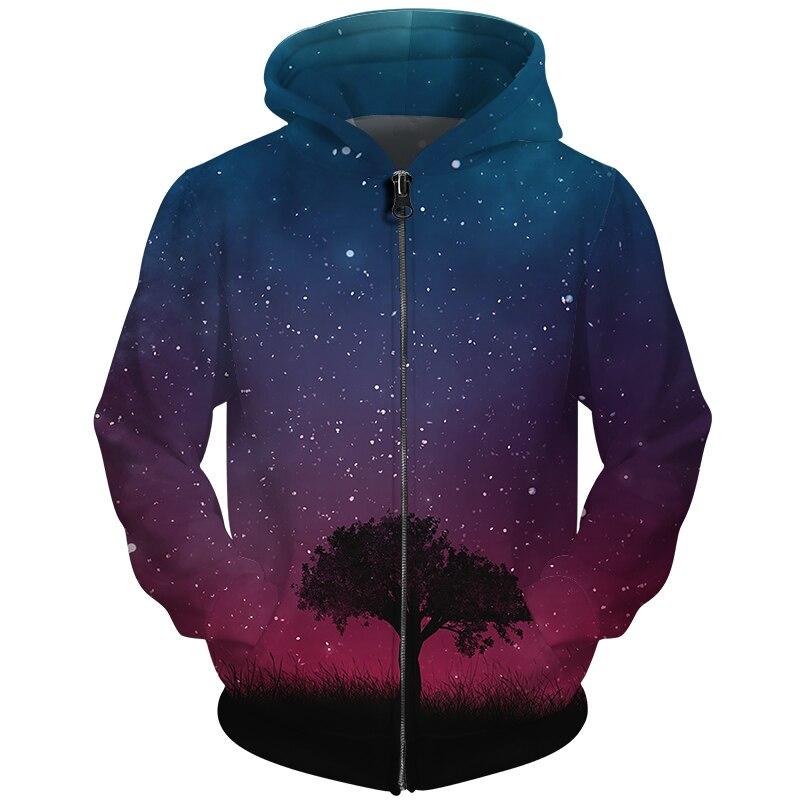Cloudstyle Star Moon Printed Mens Hoodies Zip Up Brand ...