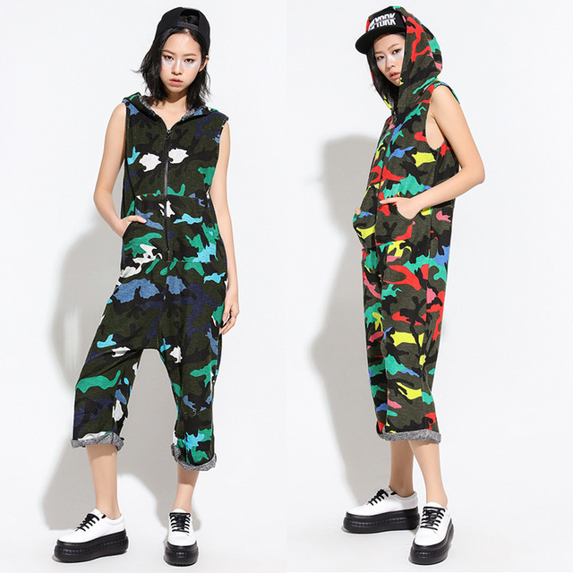 8154217fb201 Hip Hop Dance performance Costume Camouflage playsuit loose overalls one  piece Pants harem sleeveless Hooded jumpsuit