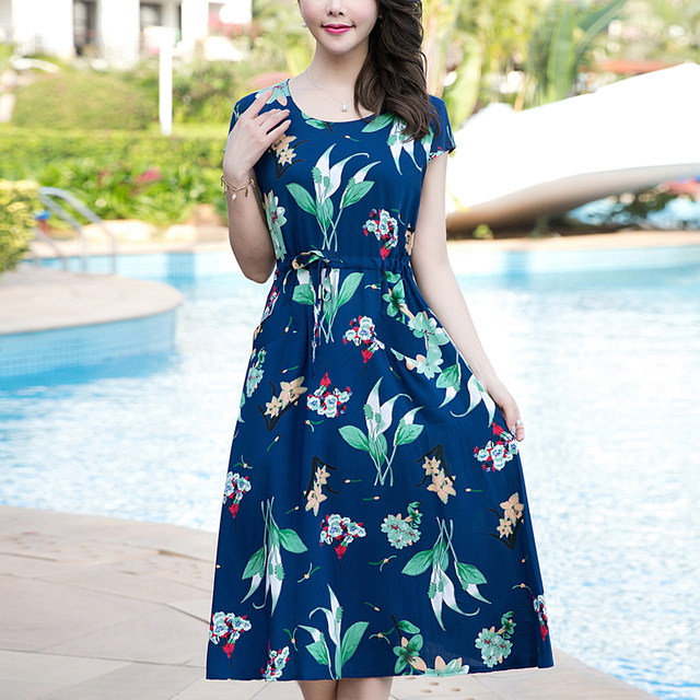 2017 casual women clothes summer flower runway cotton maxi  print ladies floral dress women loose clothing dresses plus size
