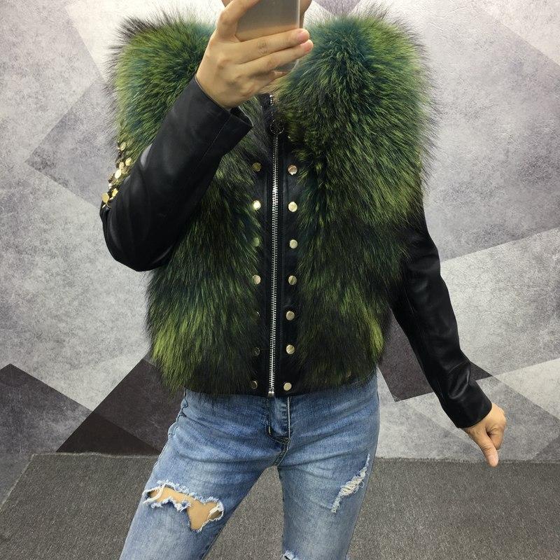 2018 femmes printemps véritable peau de mouton veste en cuir avec fourrure manteau court automne de mode en cuir véritable fourrure de renard outwear à manches longues