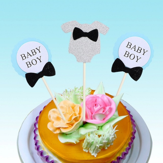 Set Of 3 Birthday Cake Topper Birthday Baby Boybaby Girl