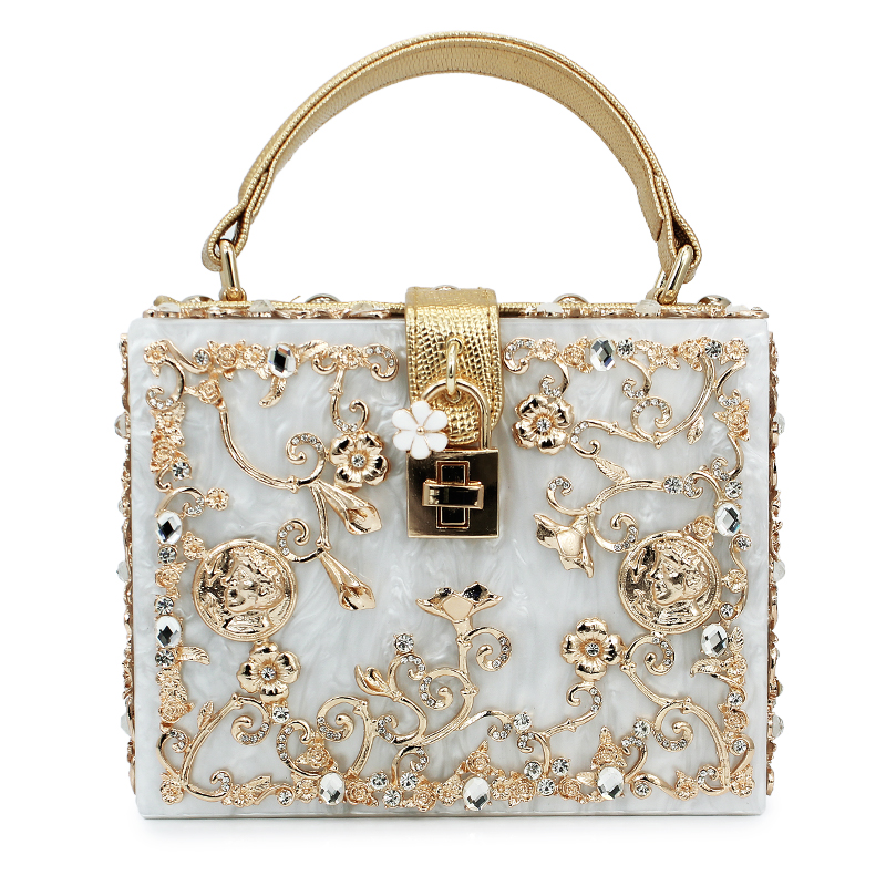Top fashion women acrylic bags famous brand party clutch bags flower diamond pattern wedding purse(C003) as16 9 rose top fashion luxury diamond african handbag purse for party wedding
