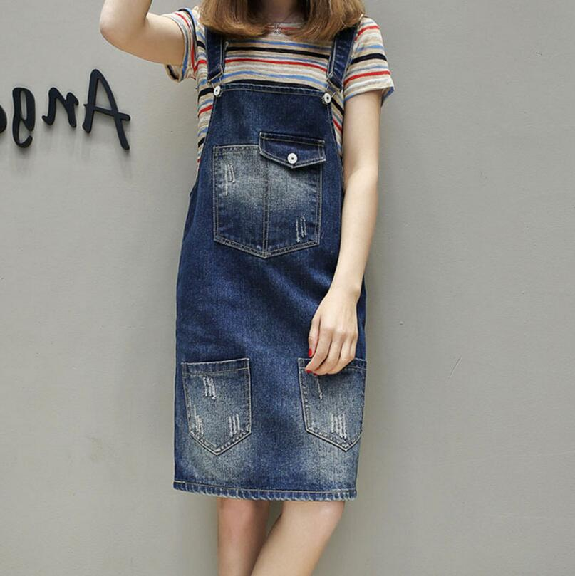 2018 Summer Women Plus size 5XL fat MM Denim Dress Denim Sundress Casual  Loose Overalls Female Jeans Dresses vestidos w874 c9ace35978bd