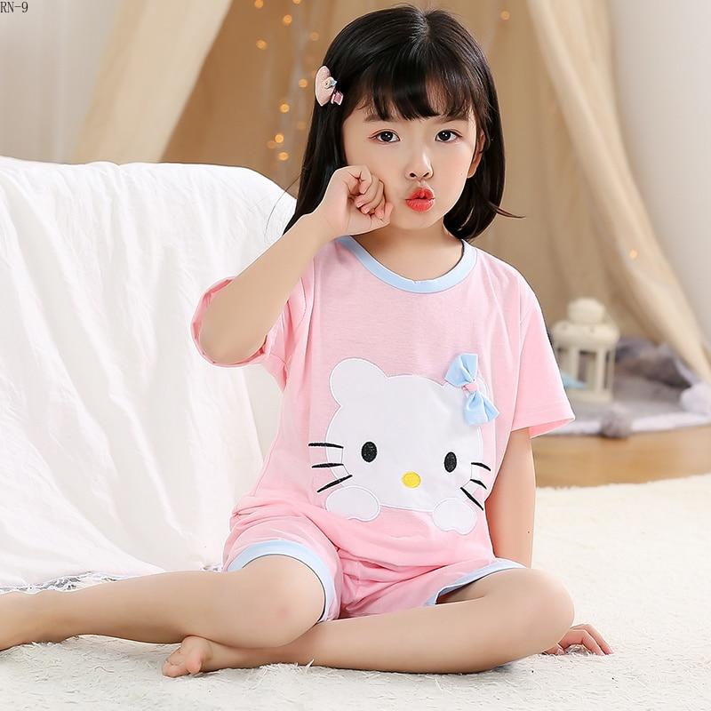 2bc74a183c79 Cheap Traje de pijamas de algodón para niños 2019 verano niñas ropa de  dormir de dibujos