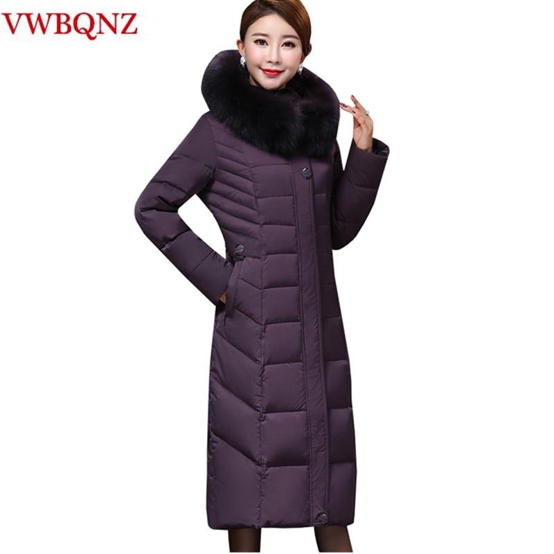 High-grade Big size Women Winter Hooded Jacket Warm Long Coat   Parka   Black Slim Fox fur Mother Down cotton Outerwear Coat 4XL 5XL