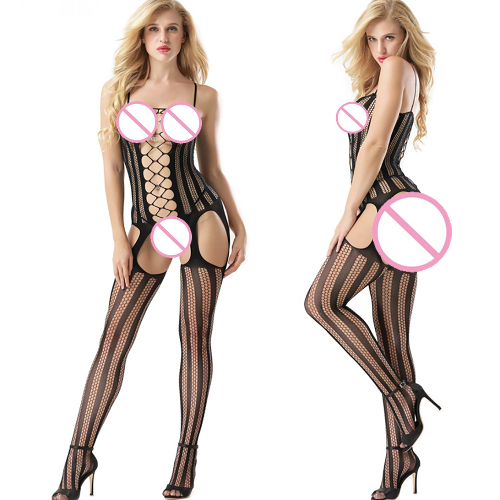 Buy 2018 New Fashion Arrival Sexy Women Hollow Lingerie Open Crotch Bodystockings Perspective Bodysuit Underwear High Quality Hot#35
