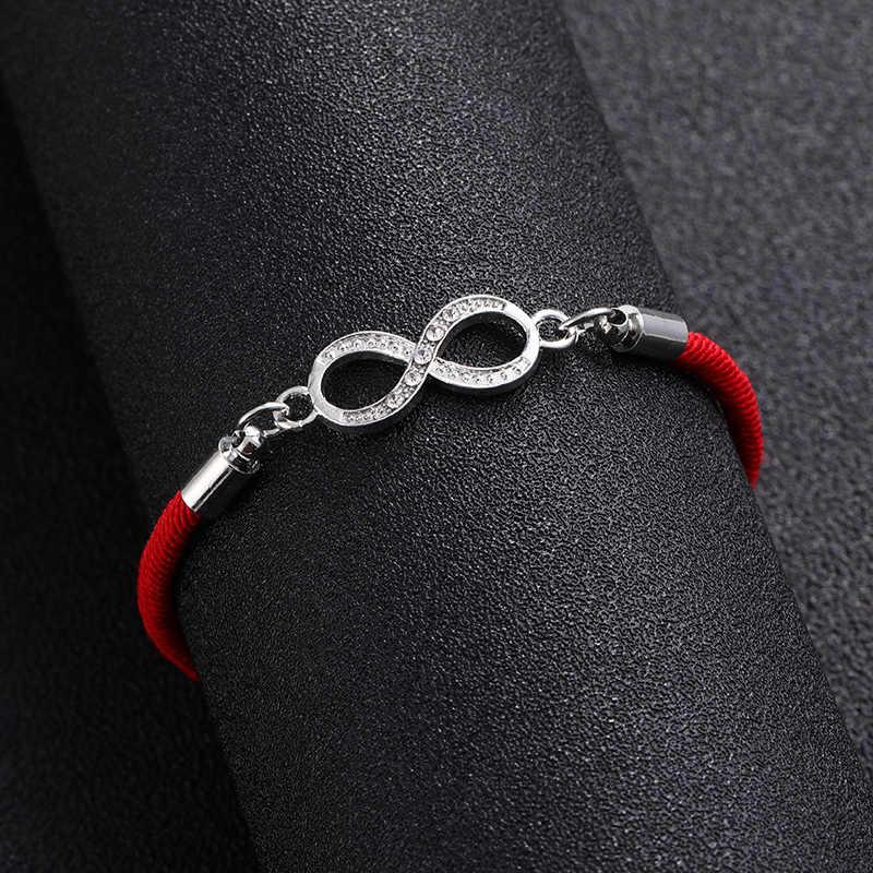クラシックトップデジタル 8 チャクラインフィニティ編み女性ブレスレットラッキー恋人赤文字ロープスレッド幸運赤ロープ