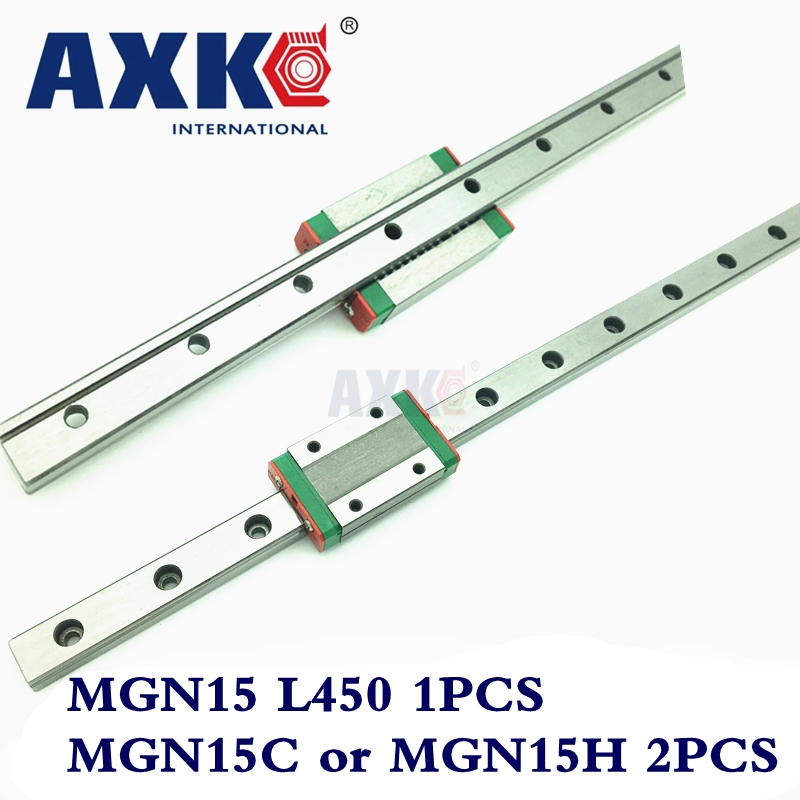 Hot Sale AXK Linear Rail Cnc Router Parts 450mm Mgn15 Linear Guide Rail With 2pc Mgn Mgn15c or MGN15H Blocks Carriage Cnc axk mr12 miniature linear guide mgn12 long 400mm with a mgn12h length block for cnc parts free shipping
