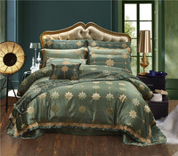 4/6/10Pcs Green color Luxury Silky Cotton Satin Jacquard Bedding set Queen King size Duvet cover Bed/Flat sheet Bed spread set