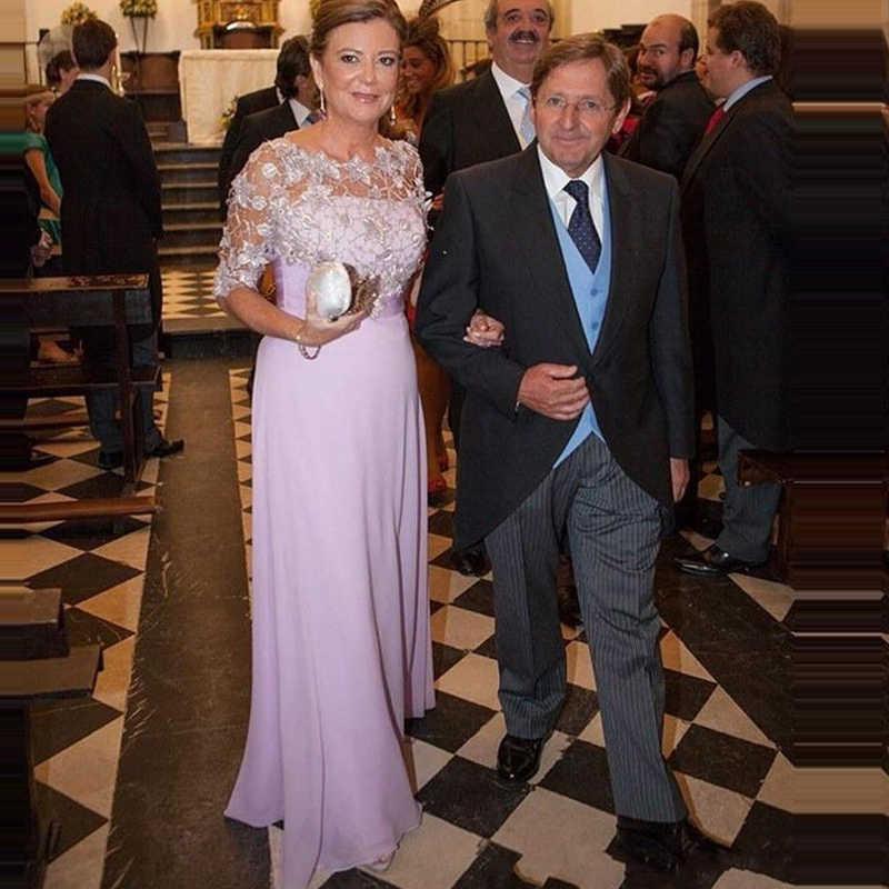 האופנה סקופ חצי שרוולים פורמליות אמא של שמלת ערב vestido דה madrinha לילך אמא של הכלה שמלת אירוע מיוחד שמלה