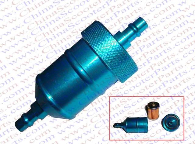 CNC Aluminum Fuel gas Filter Mini Pocket Dirt bike ATV Quad CRF XR Cruiser Chopper Parts Blue