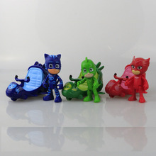 3pcs set Pj Cartoon Mask Small spacecraft Masked Heroes Toys Action Figure Toy For Children Kids