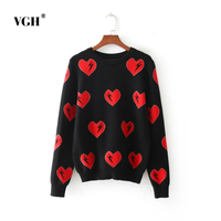 Autumn European Wind Pattern Love Head Sweater Long Sleeve Thick Section Knitting Unlined Upper Garment Wire