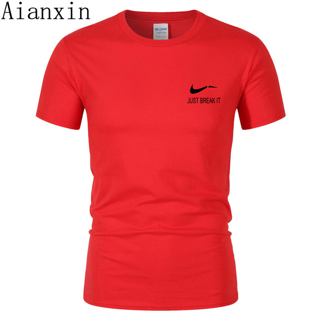 AIANXIN 2019 New T Shirt Men Slim Fit Solid Color fitness Casual Tops 100% Cotton Comfortable High Quality Plus Size