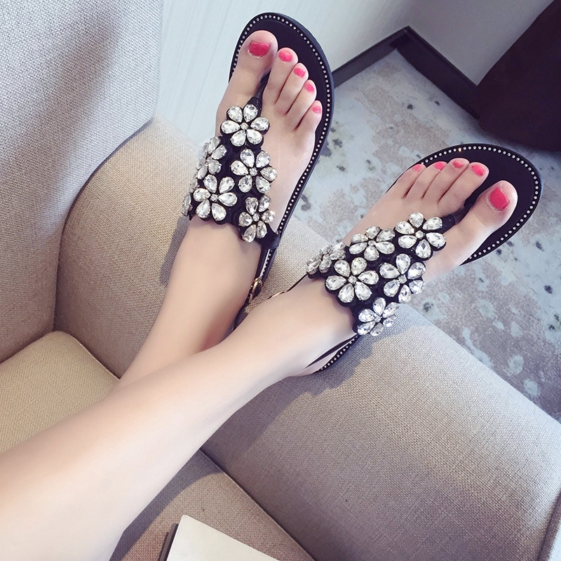 ФОТО 2017 Summer Women Rhinestone Flower Sandals Female Flat Shoes Bohemia Beach Sandals Daily Flip-flop Shoes