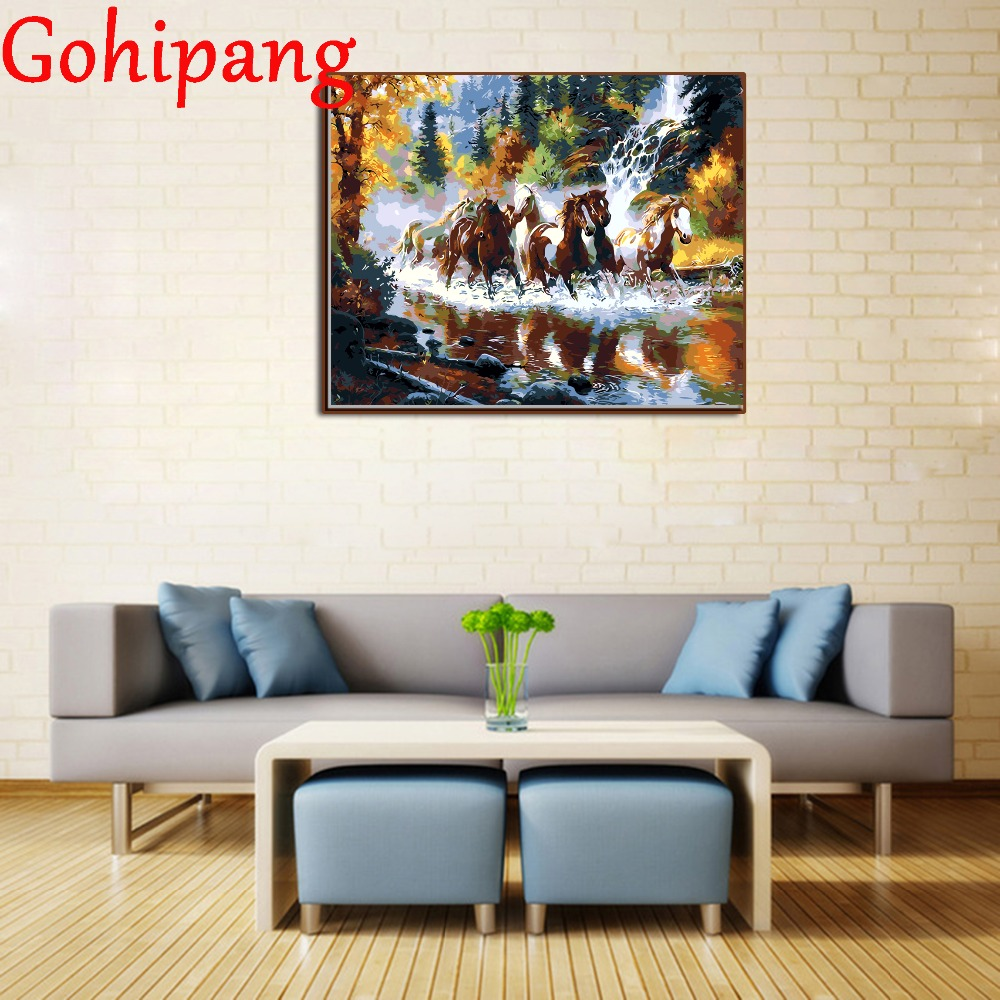 Painting on Canvas Drawing Coloring Wall Pictures by Numbers Horses Running River Handwork Modular Oil Painting Framed