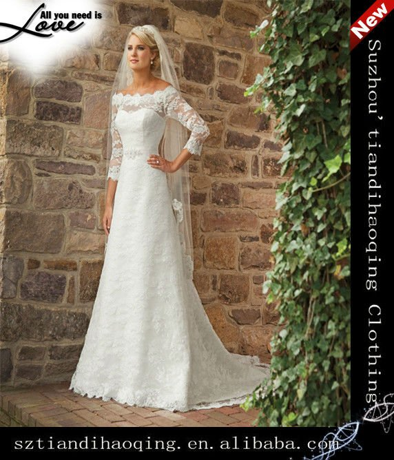 3 4 Sleeves Scoop A Line Lace Over Satin Wedding Dress In Dresses From Weddings Events On Aliexpress Alibaba Group