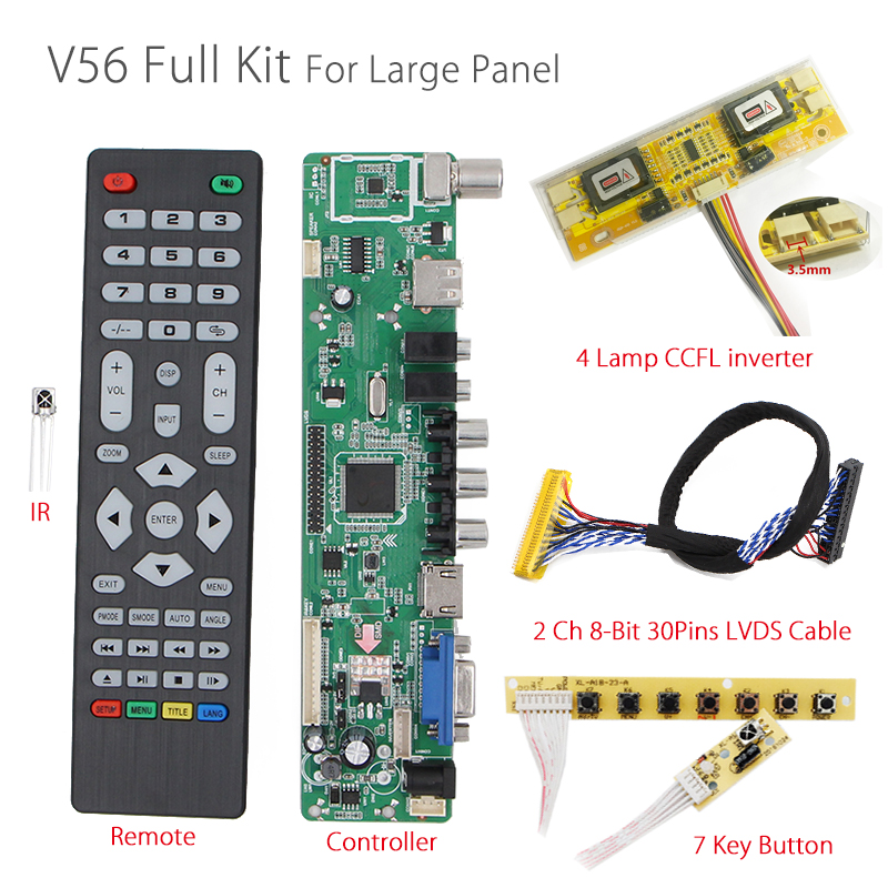 V56 Universal LCD TV Controller Driver Board PC/VGA/HDMI/USB Interface+7 key button+4 lamp inverter+2ch 8-bit 30pin lvds cable