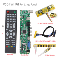 V56 Universel LCD TV Contrôleur Pilote Conseil PC/VGA/HDMI/USB Interface + 7 clés bouton + 4 lampe onduleur + 2ch 8-bit 30pin lvds câble