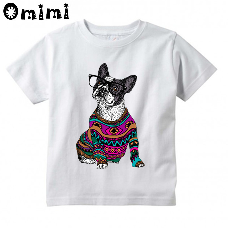 Baby Boys/Girls Frenchie Bulldog Printed T Shirt Kids Short Sleeve Tops Childrens Funny White T-Shirt,HKP2063