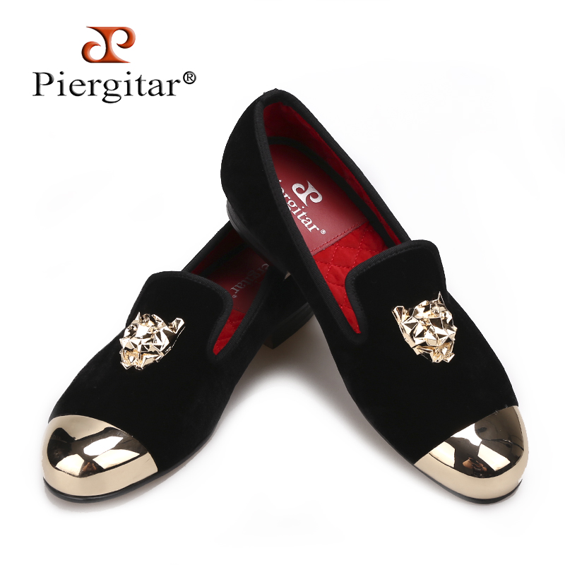 Piergitar 2018 Black velvet shoes with gold Tiger buckle party and wedding men loafers Plus size