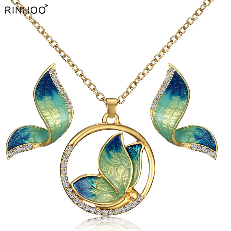 Gold Color Jewelry Sets Silver Color Leaf Hollow Out Butterfly