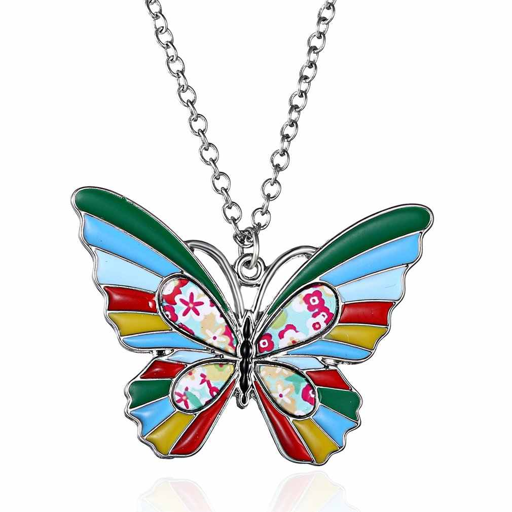 Fashion Crystal Necklace Pearls Oil Pendant Luxury Angel Butterfly Dream Catcher Sweater Chain Jewelry