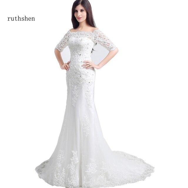 Ruthshen Cheap Off The Shoulder Lace Wedding Dresses 2018