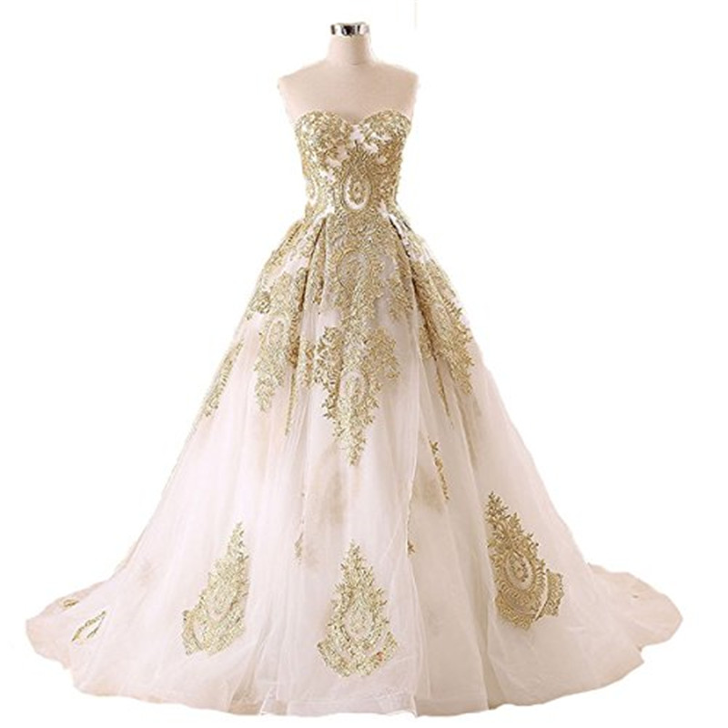 White Wedding Gown Gold: New Arrival White And Gold Wedding Dress 2016 Luxurious