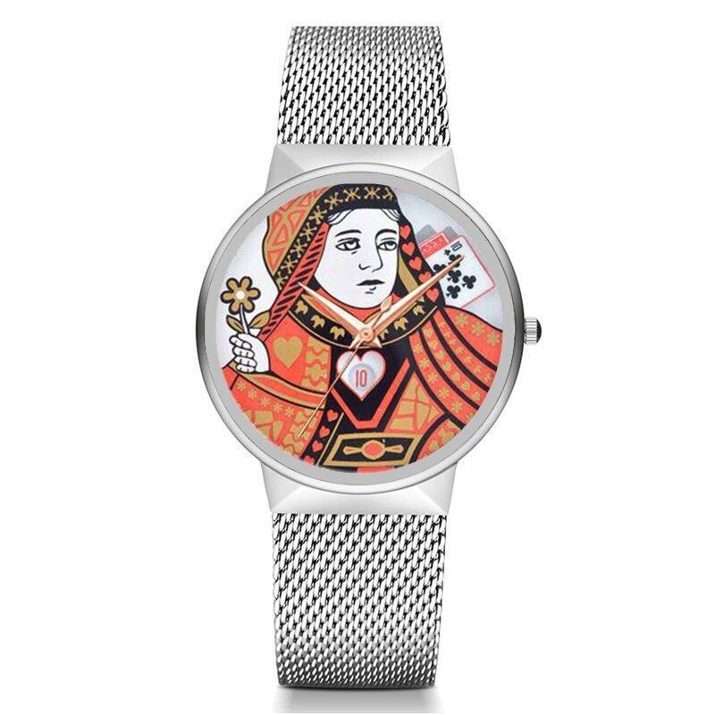 MJARTORIA New Fashion Poker Pattern Mesh Quartz Watch Fashion Pattern Clock Womens Watch PU/Stainless Steel Strip Wristwatches